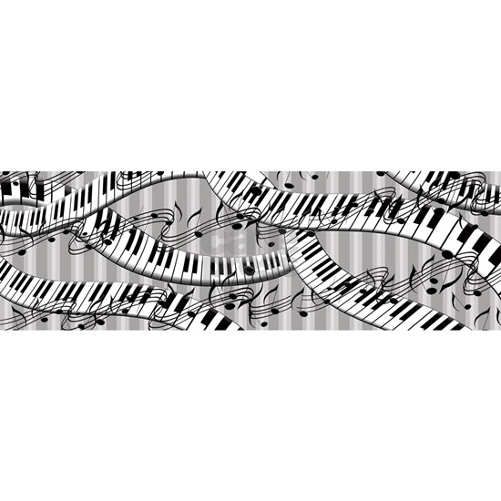 Striped Piano Keyboards And Music Notes