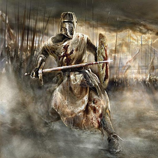 templar knight in battle