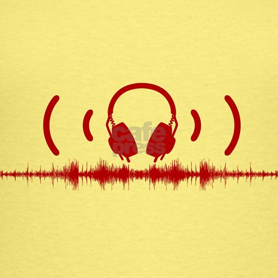 Headphones with Soundwaves and Audio in Red