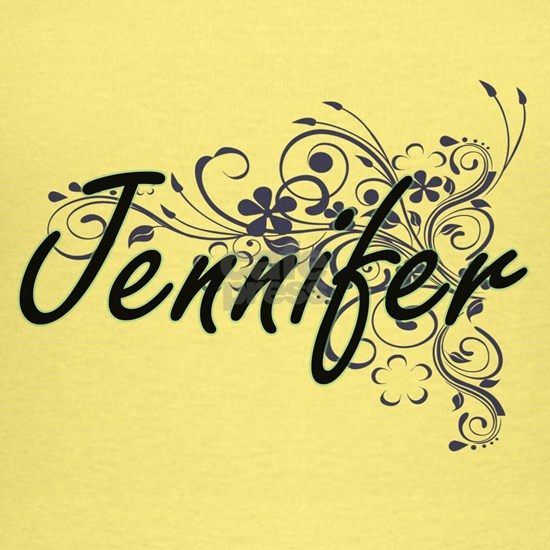 Jennifer Artistic Name Design with Flowers