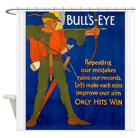 Bulls-Eye, Archer, Vintage Poster Shower Curtain