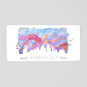 Kansas City Skyline Watercolor Aluminum License Pl