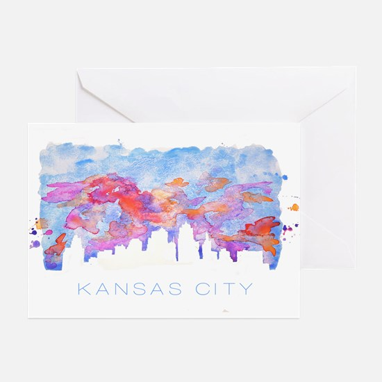 Kansas City Skyline Watercolor Greeting Cards