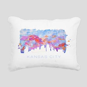 Kansas City Skyline Watercolor Rectangular Canvas