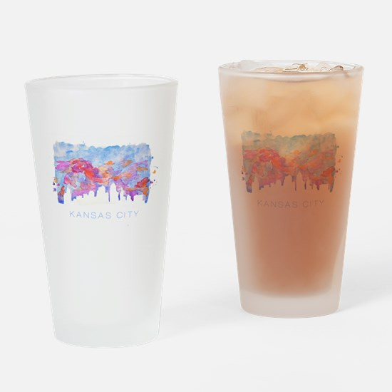 Kansas City Skyline Watercolor Drinking Glass