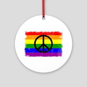Peace Distressed peace Sign Rainbow Ornament (Roun