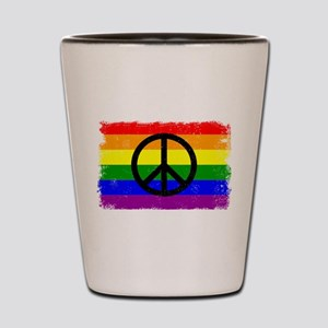 Peace Distressed peace Sign Rainbow Shot Glass