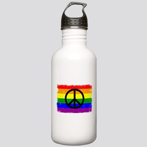 Peace Distressed peace Sign Rainbow Stainless Wate