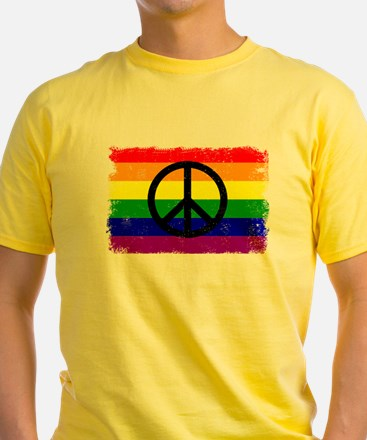 Peace Distressed peace Sign Rainbow T