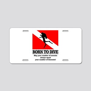 Born To Dive (Descent-Ascent) Aluminum License Pla