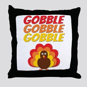 Gobble Gobble Gobble Turkey Throw Pillow
