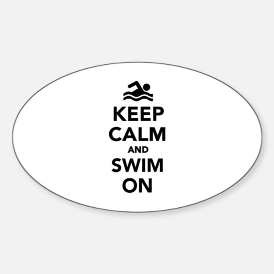 Keep calm and swim on Sticker (Oval)