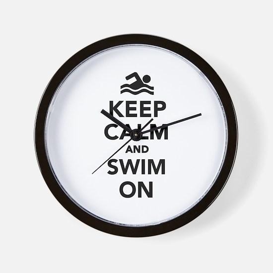 Keep calm and swim on Wall Clock