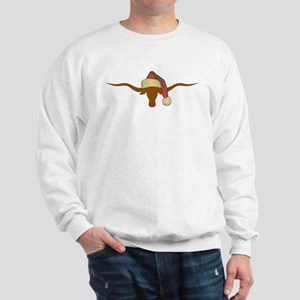 Longhorn Steer with Santa Hat Sweatshirt