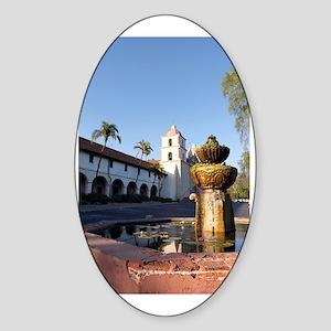 Santa Barbara Mission Fountain Sticker (Oval)