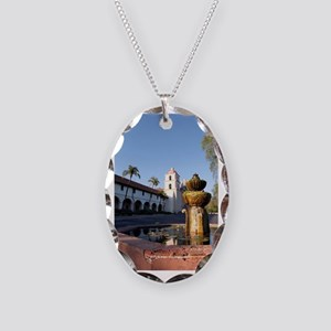 Santa Barbara Mission Fountain Necklace Oval Charm