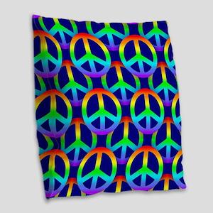 rainbow peace Burlap Throw Pillow