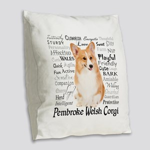Corgi Traits Burlap Throw Pillow