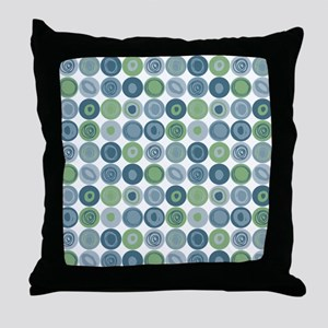 Blue and Green Swirly Dot Pattern Throw Pillow