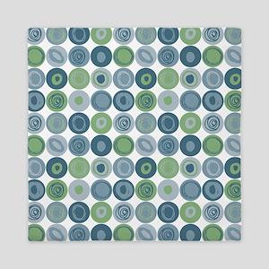 Blue and Green Swirly Dot Pattern Queen Duvet