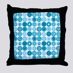 Blue Swirly Dot Pattern Throw Pillow