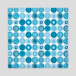 Blue Swirly Dot Pattern Queen Duvet