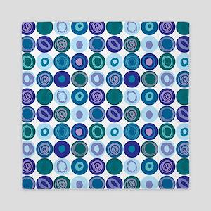 Purple & Blue Swirly Dot Pattern Queen Duvet