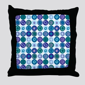 Purple & Blue Swirly Dot Pattern Throw Pillow