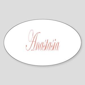 Cursive Anastasia Oval Sticker