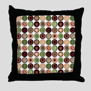 Green, Plum and Tan Swirly Dot Patter Throw Pillow