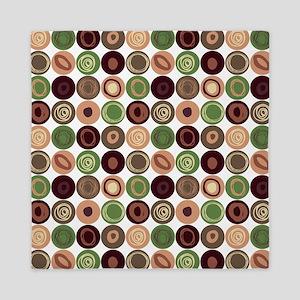 Green, Plum and Tan Swirly Dot Pattern Queen Duvet