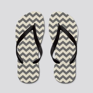 Linen and Charcoal Chevrons Flip Flops
