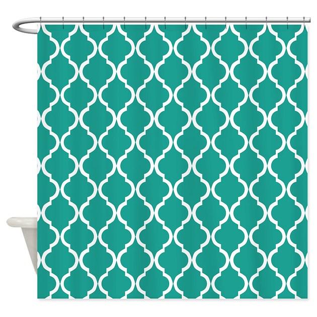 Turquoise Moroccan Lattice Pattern Shower Curtain By Cierraspatterndecorandgifts