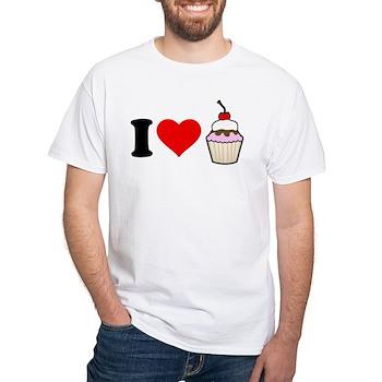 I Heart Cupcake White T-Shirt
