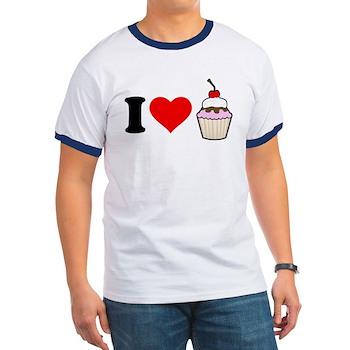 I Heart Cupcake Ringer T-Shirt