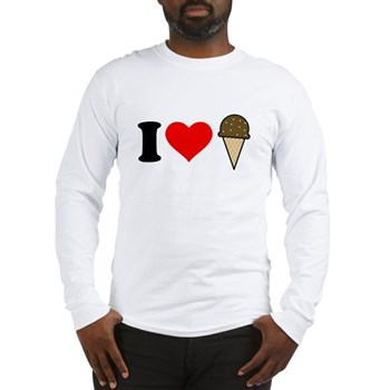 I Heart Ice Cream Cone Long Sleeve T-Shirt