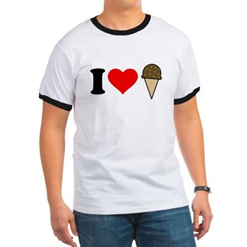 I Heart Ice Cream Cone Ringer T-Shirt