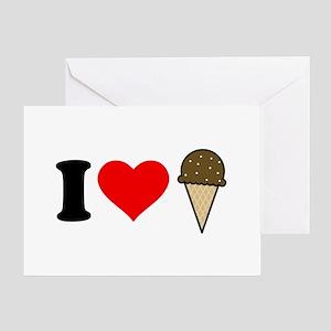 I Heart Ice Cream Cone Greeting Card