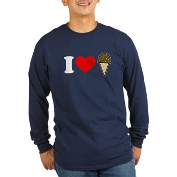 I Heart Ice Cream Cone Long Sleeve Dark T-Shirt