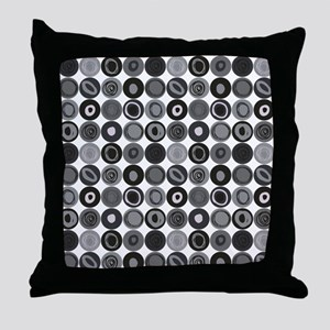 Gray  and Black Swirly Dot Pattern Throw Pillow