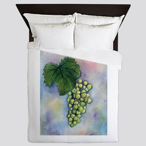 Green Grapes Wine Art Queen Duvet