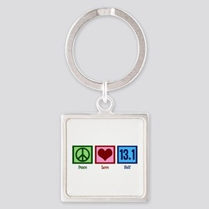 Peace Love 13.1 Square Keychain