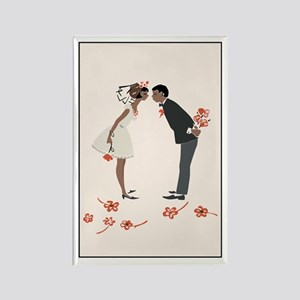 """Wedding Couple"" (black) Rectangle Magnet"