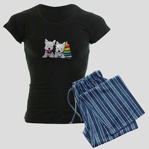 Westie Playful Puppies Women's Dark Pajamas