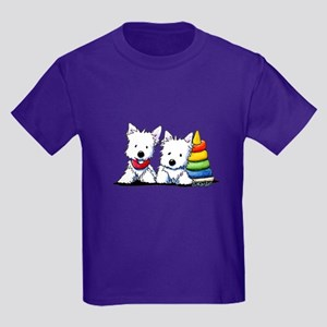 Westie Playful Puppies Kids Dark T-Shirt