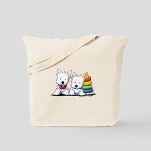 Westie Playful Puppies Tote Bag
