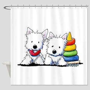 Westie Playful Puppies Shower Curtain