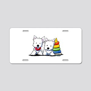 Westie Playful Puppies Aluminum License Plate