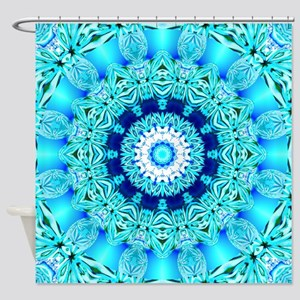 Blue Ice Lace Shower Curtain