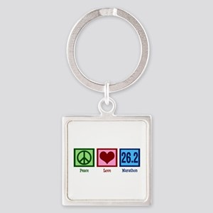 Peace Love 26.2 Square Keychain